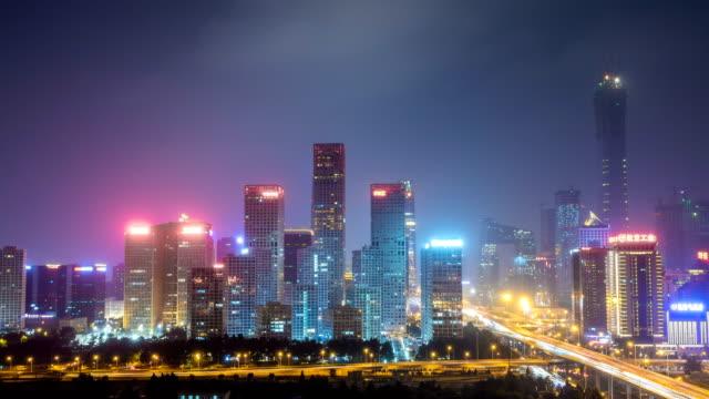 Time lapse of Jianwai SOHO,the CBD skyline at night in Beijing,China video
