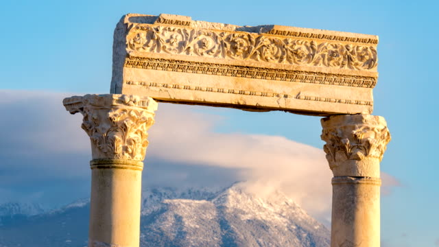 Time lapse of Laodicea Antique city on the Lycus in Pamukkale region