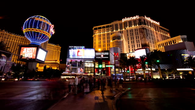 Time lapse of Las Vegas strip road at night video