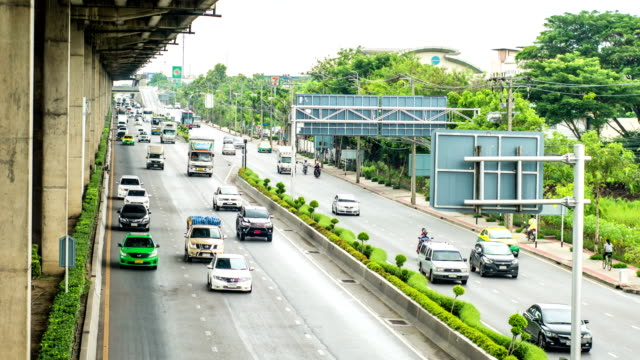 Time lapse of Less traffic on Highway under Toll Way in Bangkok, Thailand video