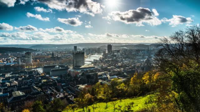 time lapse of liege cityscape in belgium - belgio video stock e b–roll