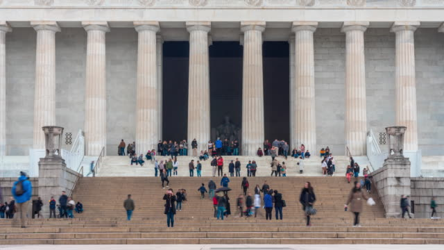 4K Time Lapse of Lincoln Memorial located on the National Mall with people and tourist in Washington, D.C., USA, Architecture and Attraction concept