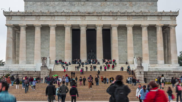 Time Lapse of Lincoln Memorial with people and tourist in Washington, D.C., USA