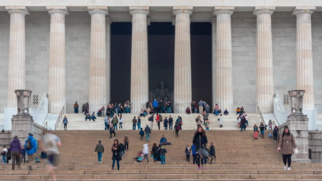 Time Lapse of Lincoln Memorial with people and tourist