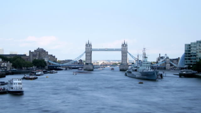Time lapse of London's Tower Bridge with River Traffic video