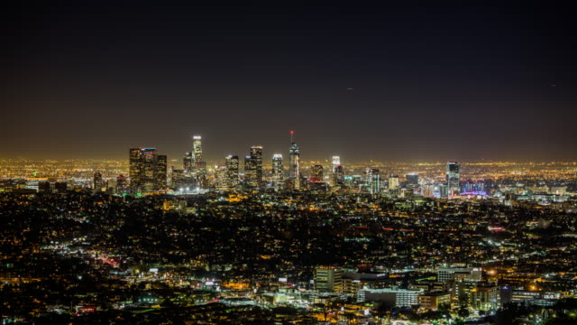 Time Lapse of Los Angeles skyline at night, California, USA video