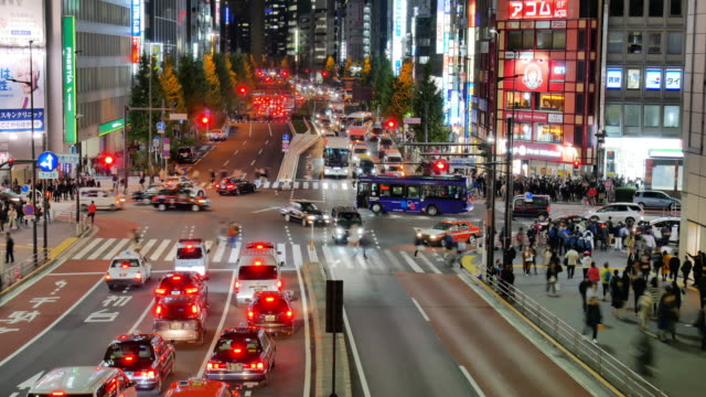 time lapse of many vehicles and people commuting along a road in shinjuku tokyo at night. shinjuku is a major commercial centre, the busiest railway station in the world. - città diffusa video stock e b–roll