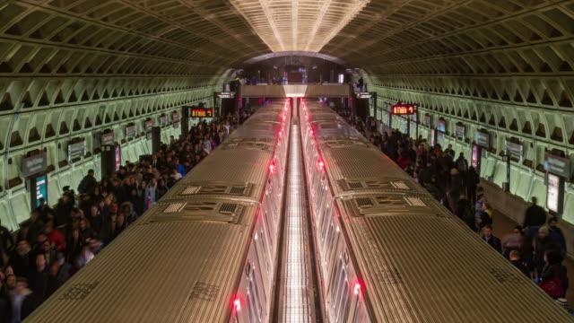 4k time lapse of metro train station, washington dc, united states - automotive video stock e b–roll