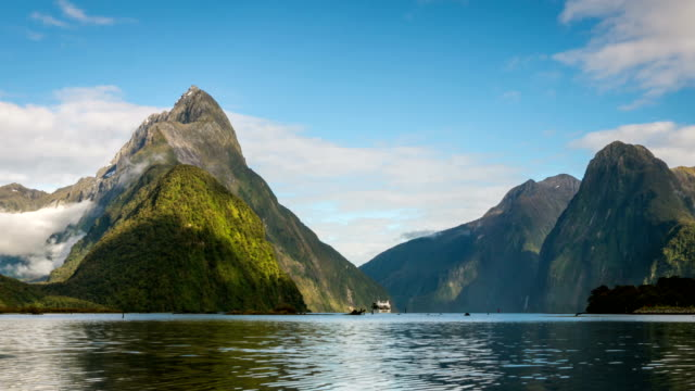 Time Lapse of Milford Sound Mitre Peak in Fiordland National Park, New Zealand. video