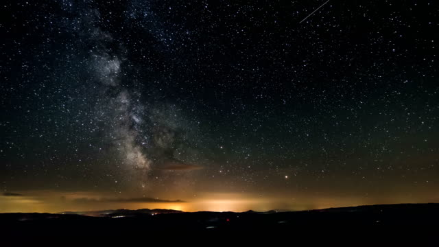 Time lapse of milky way galaxy. Stars moving in starry night video
