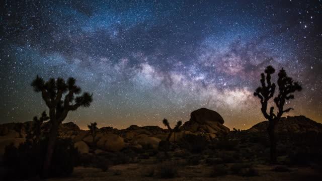 砂漠で天の川の時間経過 - ジョシュアツリー国立公園点の映像素材/bロール
