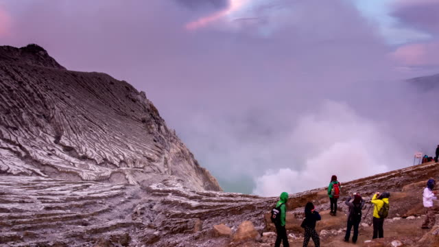 Time lapse of Mount Kawah Ijen volcano during sunrise in East Java, Indonesia.