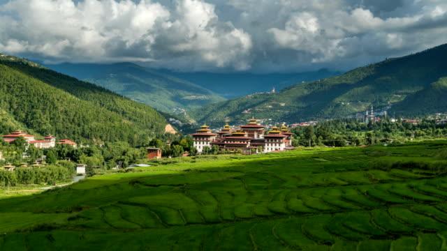 Zeitraffer des Palastes Thimphu Wolke überfahren – Video