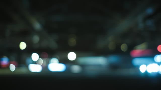 ピンぼけ光街の移動の 4 K 時間の経過 ビデオ