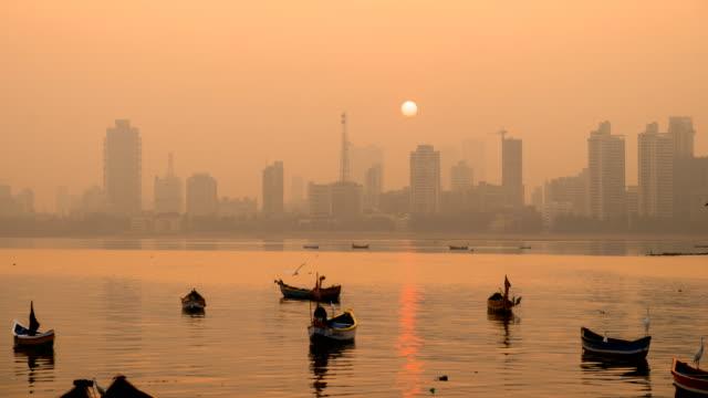 Time lapse of Mumbai skyline in sunrise video