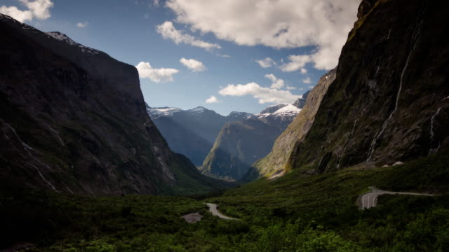 Time Lapse of nature mountain and sky at new zealand , fiordland national park video