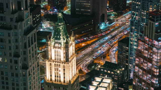 4K Time Lapse of New York cityscape with various building skyscraper and traffic road intersection in rush hour at night time, United States Time Lapse of New York cityscape with various building skyscraper and traffic road intersection in rush hour at night time, United States, 4k clip aerial timelapse stock videos & royalty-free footage