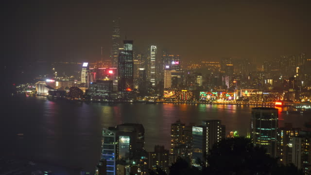 Time lapse of Night in Hong Kong. Central District, Victoria Harbor, Hong Kong Island and Kowloon, Hong Kong. video