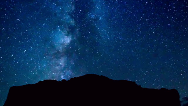 time lapse of night sky and milky way galaxy - nightsky bildbanksvideor och videomaterial från bakom kulisserna