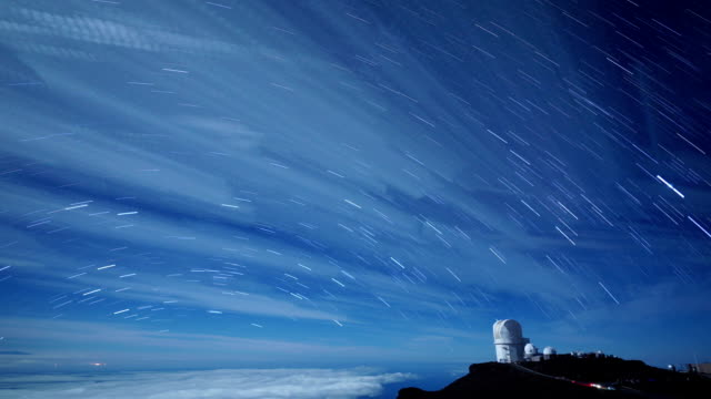 Time Lapse of Night Sky with Clouds and Stars on Maui video