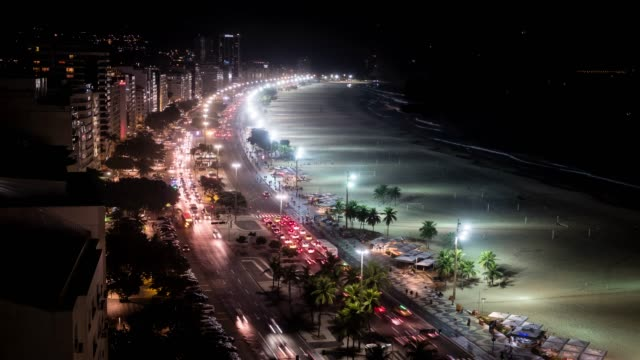 Time Lapse Of Night Traffic On Copacabana beach, viewed from above, Rio de Janeiro, Brazil video