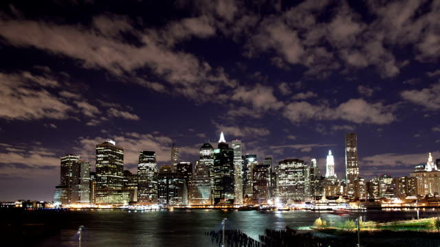 Time lapse of NYC skyline night with river traffic video
