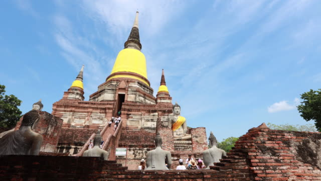 Time Lapse of Old buddha statue ,temple in Ayutthaya Historical Park In the midst of tourist. Wat Chaiwatthanaram,Ayutthaya province, Thailand