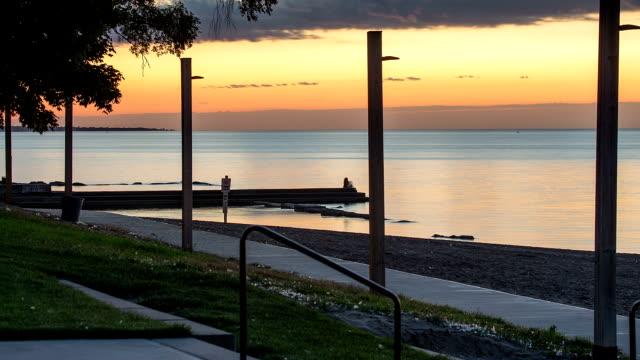 Time Lapse of Orange Sunset At Lake Erie video