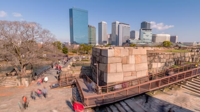 4k time lapse of  osaka  modern osaka city of japan ,city of concept - wagon kolejowy filmów i materiałów b-roll
