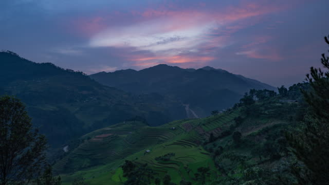 Time lapse of paddy rice terraces, green agricultural fields in countryside or rural area of Mu Cang Chai, Yen Bai, mountain hills valley at sunset in Asia, Vietnam. Nature landscape background. Time lapse of paddy rice terraces, green agricultural fields in countryside or rural area of Mu Cang Chai, Yen Bai, mountain hills valley at sunset in Asia, Vietnam. Nature landscape background. sa pa stock videos & royalty-free footage
