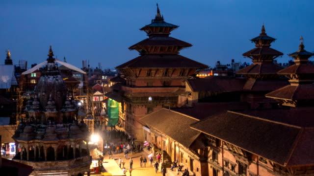 カトマンズ盆地パタンダルバール広場の時間経過国境 - ネパール点の映像素材/bロール