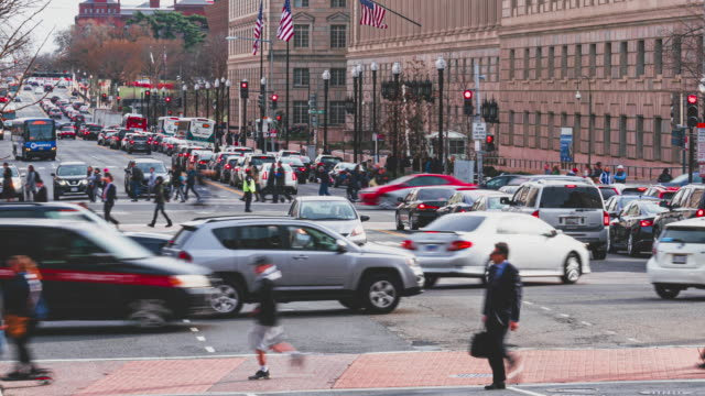Time Lapse of Pedestrian and traffic road in Washington DC