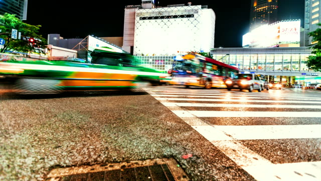 Time lapse of people and traffic crossing the famous Japanese intersection video