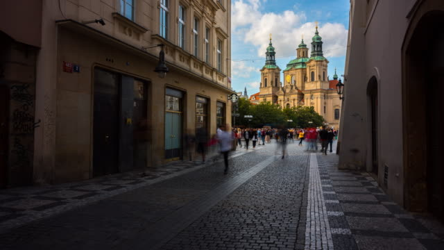 Time Lapse of People and Traffics in front of St. Nicholas' Church in Prague, Czech Republic