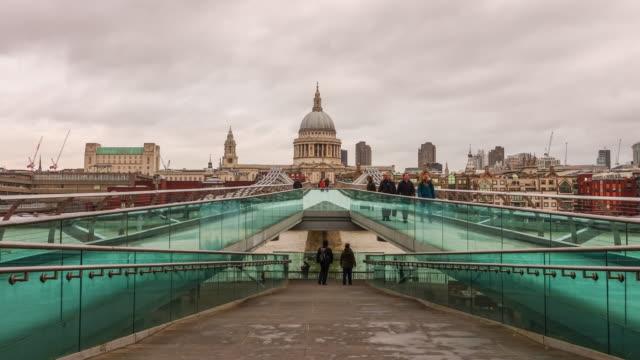 Time lapse of people crossing Millennium Footbridge video