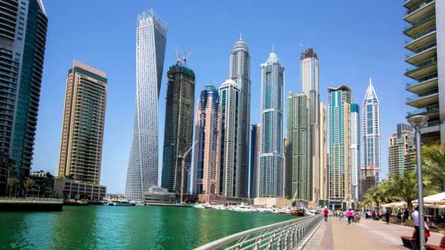 Time lapse of people visiting Dubai Marina video