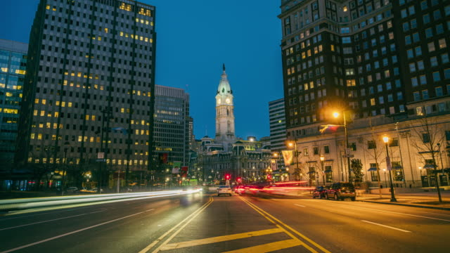 Time lapse of Philadelphia City Hall at twilight time