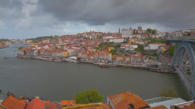 Time lapse Of Porto Downtown Cityscape With River And Dom Luís I Bridge