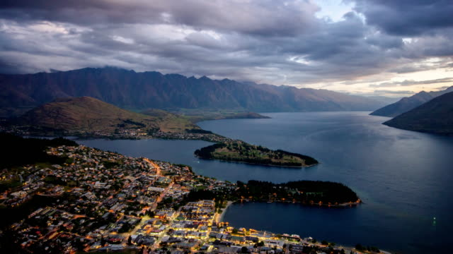 Time Lapse of Queenstown city day to dusk time twilight after sunset , Otago , New zealand video