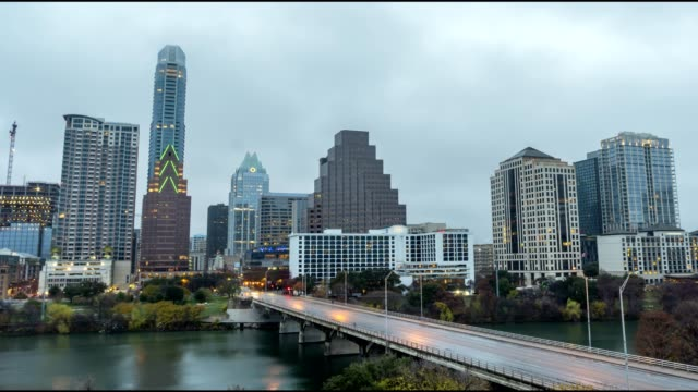 Time Lapse of Rain Clouds Moving Towards Downtown Austin In the Early Morning