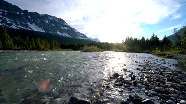 Time lapse of River and Canadian Rockies at sunset video