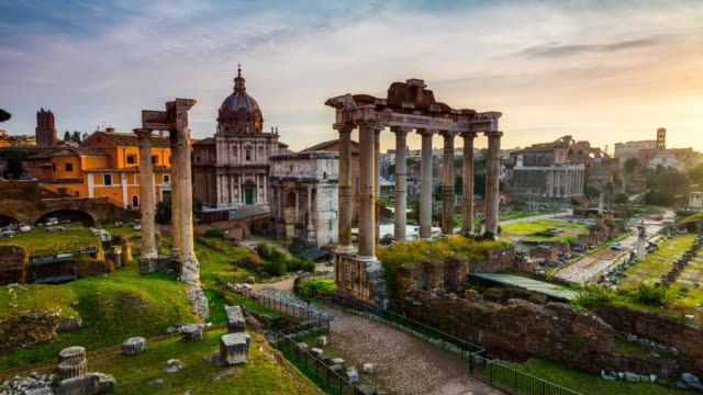 Time Lapse of Roman Forum in Rome, Italy