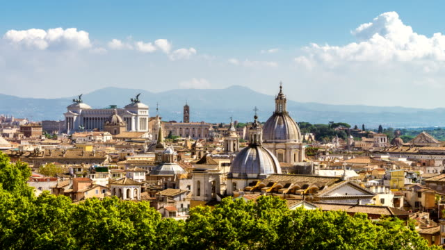 Lapso de tiempo del horizonte de Roma en vista panorámica - vídeo