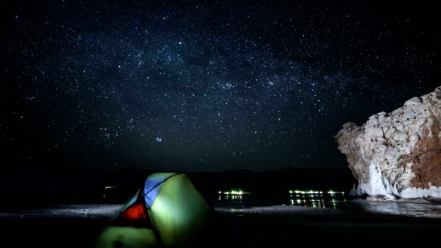 Time lapse of rotating stars above camping video