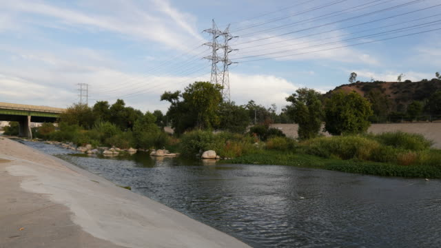Time lapse of scenic Los Angeles river Time lapse of scenic Los Angeles river aqueduct stock videos & royalty-free footage