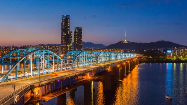 Time lapse of Seoul City skyline at Dongjak Bridge  in Seoul, South Korea video