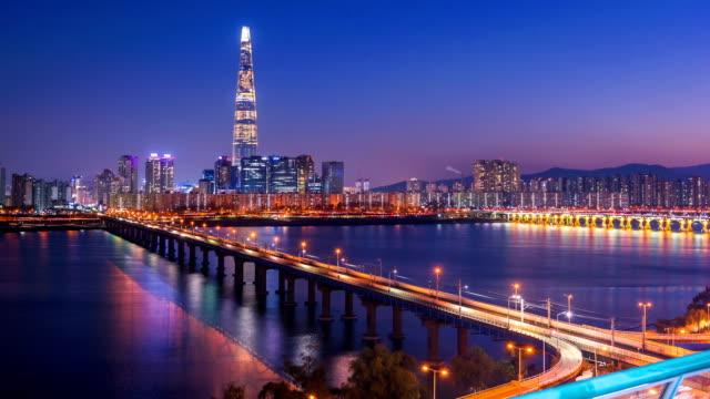 Time lapse of Seoul City Skyline,South Korea. Time lapse of Seoul City Skyline,South Korea. namsan seoul stock videos & royalty-free footage