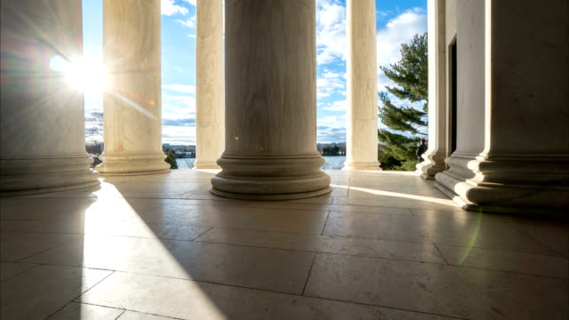 Time lapse of sets of columns in the Jefferson Memorial in Washington DC