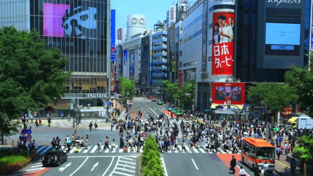 東京涉谷過境點的延時 - 澀谷交叉點 個影片檔及 b 捲影像