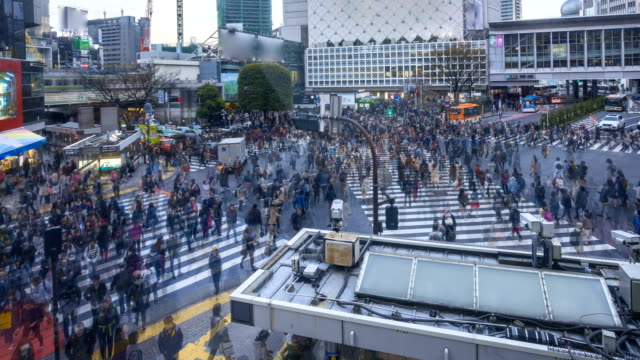 Time lapse of Shibuya Crossing with motion blur of pedestrian video